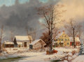 Fine Art - Painting, American, George Henry Durrie (American, 1820-1863). Winter in theCountry, A Cold Morning, circa 1863. Oil on canvas. 26 x 36inc...