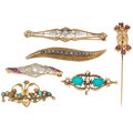 Estate Jewelry:Brooches - Pins, Diamond, Multi-Stone, Pearl Brooches. ... (Total: 6 Items)