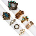 Estate Jewelry:Rings, Diamond, Multi-Stone, Cultured Pearl, Gold, Sterling Silver Rings. ... (Total: 8 Items)
