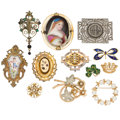 Estate Jewelry:Brooches - Pins, Diamond, Multi-Stone, Pearl, Painted Portrait, Enamel, Glass, Gold, Sterling Silver, Base Metal Brooches. ... (Total: 12 Items)