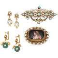 Estate Jewelry:Lots, Multi-Stone, Pearl, Painted Portrait, Gold Jewelry. ... (Total: 3 Items)