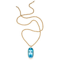 Blue Topaz, Gold Pendant-Necklace