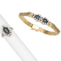 Estate Jewelry:Lots, Sapphire, Diamond, Gold Jewelry. ... (Total: 2 Items)