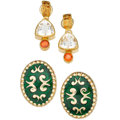 Estate Jewelry:Earrings, Multi-Stone, Enamel, Gold Earrings. ... (Total: 2 Items)