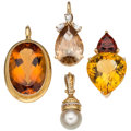 Estate Jewelry:Pendants and Lockets, Multi-Stone, Diamond, Cultured Pearl, Gold Pendants. ... (Total: 4Items)