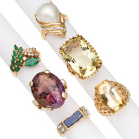 Multi-Stone, Diamond, Mabe Pearl, Gold Rings