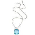 Estate Jewelry:Pendants and Lockets, Blue Topaz, Diamond, White Gold Pendant-Necklace, Eli Frei. ...