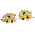 Estate Jewelry:Cufflinks, Diamond, Lapis Lazuli, Gold Cuff Links. ...