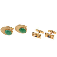 Jade, Synthetic Sapphire, Gold Cuff Links