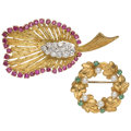 Estate Jewelry:Brooches - Pins, Diamond, Multi-Stone, Gold Pearl Brooches. ... (Total: 2 Items)