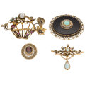 Estate Jewelry:Brooches - Pins, Multi-Stone, Diamond, Pearl, Gold Brooches. ... (Total: 4 Items)