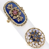 Multi-stone, Diamond, Enamel, Gold Rings