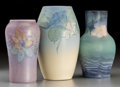 Ceramics & Porcelain, Two Rookwood and a Weller Matte Glazed Pottery Floral Vases. Circa 1904-1925. Various marks. Ht. 8-1/4 in. (tallest, Weller)... (Total: 3 Items)