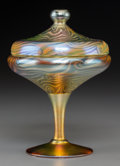 Art Glass:Other , Durand Iridescent Glass King Tut Covered Compote. Circa1925. Ht. 6-3/8 in. . ... (Total: 2 Items)