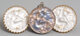 Three R. Lalique Glass Fioret Chose Promise Medallions Set in Brass and Silver Circa 1924. Molded FIORET, PARI... (Total...