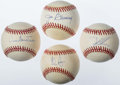 Autographs:Baseballs, Pitching Greats Single Signed Baseball Quartet (4) - Ryan, Gooden,Sutter, & Bunning. ...