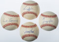 Autographs:Baseballs, Baseball Hall of Famers Single Signed Baseball Quartet (4) -Leonard, Bench, Kell, & Jackson. ...