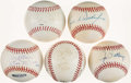 Autographs:Baseballs, Baseball Greats Single Signed Baseballs Lot of 5....