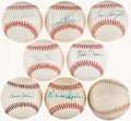 Autographs:Baseballs, Baseball Hall of Fame Single Signed Baseballs Lot of 8....