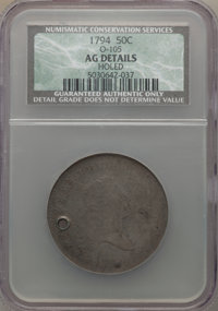 1794 50C O-105, T-3, R.5 -- Holed -- NCS. AG Details. NGC Census: (0/15). PCGS Population: (0/4). From The Estate of T...