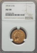 Indian Half Eagles: , 1914-S $5 AU58 NGC. NGC Census: (566/512). PCGS Population:(226/493). CDN: $700 Whsle. Bid for problem-free NGC/PCGS AU58....
