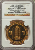 Casino and Gaming Tokens, 1988 Union Plaza Casino $1 Token, 1.65 Ounces of Gold, 1 of 10 Made, PR66 Ultra Cameo NGC. Ex: El Cortez Casino Collection....