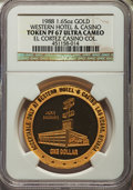Casino and Gaming Tokens, 1988 Western Hotel & Casino $1 Token, 1.65 Ounces of Gold, PR67Ultra Cameo NGC. Ex: El Cortez Casino Collection....