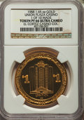 Casino and Gaming Tokens, 1988 Union Plaza Casino $1 Token, 1.65 Ounces of Gold, 1 of 10Made, PR66 Ultra Cameo NGC. Ex: El Cortez Casino Collection....