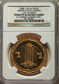 Casino and Gaming Tokens, 1988 Union Plaza Casino $1 Token, 1.65 Ounces of Gold, 1 of 10 Made, PR65 Ultra Cameo NGC. Ex: El Cortez Casino Collection....
