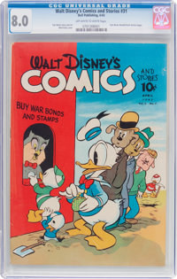 Walt Disney's Comics and Stories #31 (Dell, 1943) CGC VF 8.0 Off-white to white pages