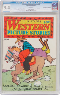 Western Picture Stories #4 Mile High Pedigree (Comics Magazine, 1937) CGC NM 9.4 White pages