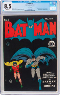 Batman #3 Central Valley Pedigree (DC, 1940) CGC VF+ 8.5 White pages