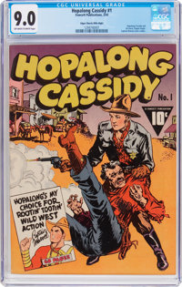Hopalong Cassidy #1 Mile High Pedigree (Fawcett Publications, 1943) CGC VF/NM 9.0 Off-white to white pages