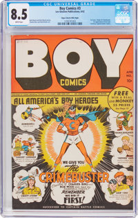 Boy Comics #3 Mile High Pedigree (Lev Gleason, 1942) CGC VF+ 8.5 White pages