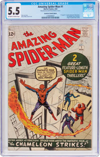The Amazing Spider-Man #1 Manufacturing Error (Marvel, 1963) CGC FN- 5.5 Off-white to white pages