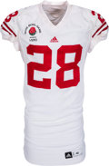 Football Collectibles:Uniforms, 2011 Montee Ball Game Worn Wisconsin Badgers Rose Bowl Jersey - With Multiple Team Repairs (Photo Matched)!...