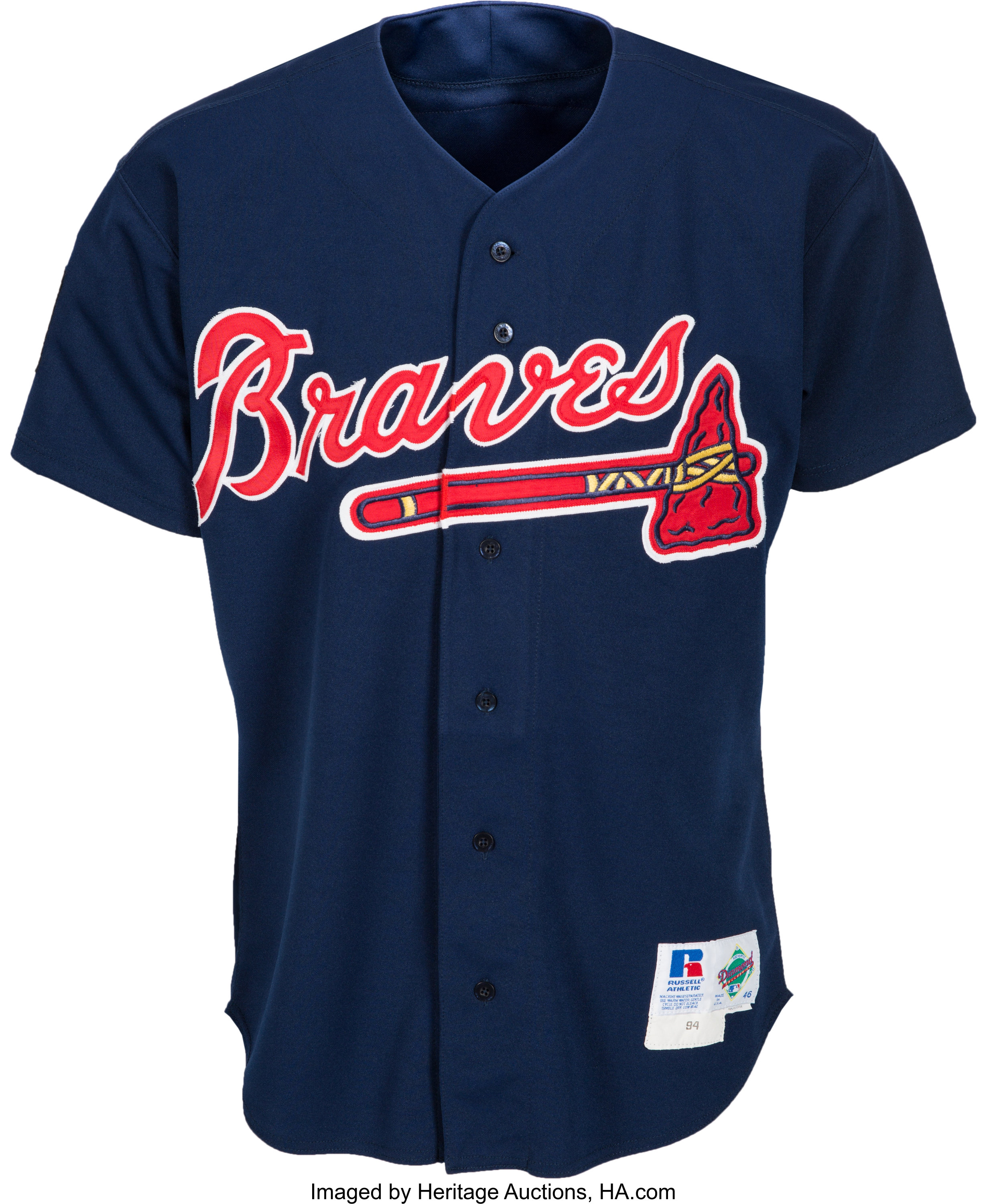 official photos ed037 134ad 1994 Greg Maddux Batting Practice Worn Atlanta Braves Jersey ...