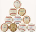 Autographs:Baseballs, Baseball Greats Single/Multi Signed Baseballs Lot of 10....