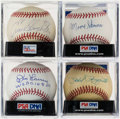 Autographs:Baseballs, 1956 New York Yankees Signed Signed Baseballs Lot of 4....