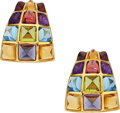 Estate Jewelry:Earrings, Multi-Stone, Gold Earrings, Laura Munder. ...