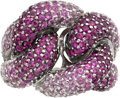 Estate Jewelry:Rings, Pink Sapphire, White Gold Ring, LeVian. ...