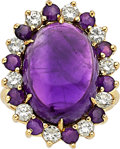 Estate Jewelry:Rings, Amethyst, Diamond, Gold Ring The ring features...