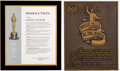 Movie/TV Memorabilia:Awards, A Janet Gaynor Oscar Plaque and an RCA Theater Plaque....