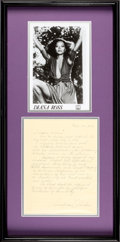 Music Memorabilia:Autographs and Signed Items, Diana Ross Signed Handwritten Document (1976)....