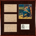 Music Memorabilia:Autographs and Signed Items, Jimmie Rodgers Signed Letter and Display (1920)....