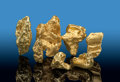 Minerals:Golds, Gold Nuggets (7 pieces). Bendigo Goldfields,. City of Greater Bendigo. Victoria, Australia. ... (Total: 7 Items)