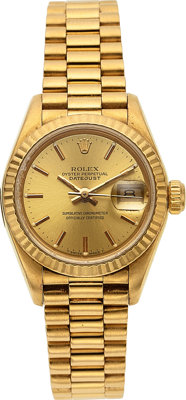 Rolex Lady's Gold Oyster Perpetual DateJust Watch