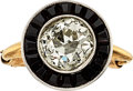 Estate Jewelry:Rings, Art Deco Diamond, Black Onyx, Platinum, Gold Ring, J.E. Caldwell & Co. . ...