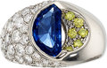 Estate Jewelry:Rings, Burma Sapphire, Colored Diamond, Diamond, Platinum Ring. ...
