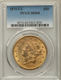 Liberty Double Eagles: , 1875-CC $20 MS60 PCGS. Pop (79/423), CDN Collector Price($11200.00), Trends ($12500.00), CAC (6/49), GOLD CAC (1/0)